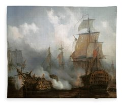 Unknown Title Sea Battle Scene Fleece Blanket