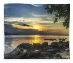 The Rocks At Dusk Fleece Blanket