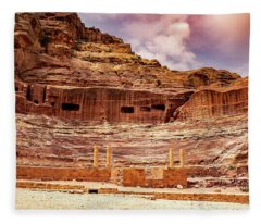 The Roman Theater At Petra Fleece Blanket