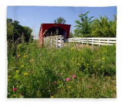 The Roseman Bridge In Madison County Iowa Fleece Blanket