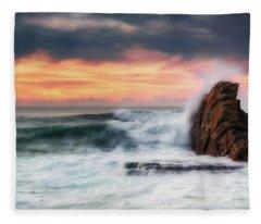 The Sea Against The Rock Fleece Blanket