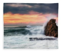 The Sea Against The Rock Fleece Blanket