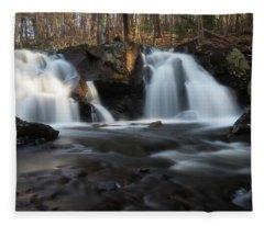 The Secret Waterfall In Golden Light Fleece Blanket