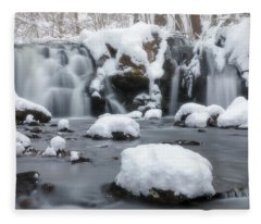 The Secret Waterfall In Winter 1 Fleece Blanket