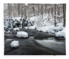 The Secret Waterfall In Winter 2 Fleece Blanket
