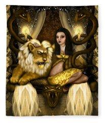 The Serpent Gateway Fantasy Art Fleece Blanket
