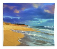 The Shoreline At Half Moon Bay Fleece Blanket