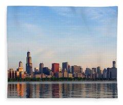 The Skyline Of Chicago At Sunrise Fleece Blanket