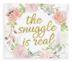 The Snuggle Is Real Wall Art Baby Girl  Nursery Pillow Boho Blush Gold Fleece Blanket
