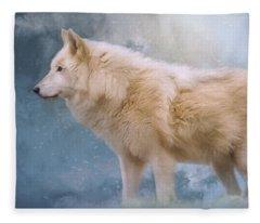 The Spirit Within - Arctic Wolf Art Fleece Blanket