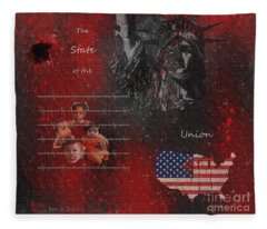 The State Of The Union With Flag Fleece Blanket