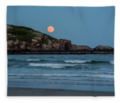The Strawberry Moon Rising Over Good Harbor Beach Gloucester Ma Island Fleece Blanket