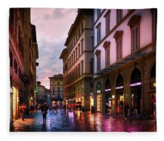 The Streets Of Florence Fleece Blanket