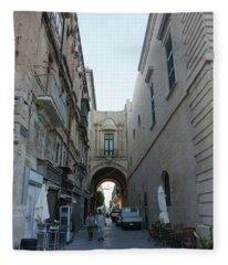 The Streets Of Valletta #valletta Fleece Blanket