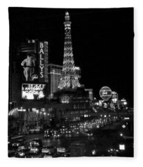 The Strip By Night B-w Fleece Blanket