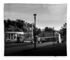 The Sun Rises On Western Carolina University In Black And White Fleece Blanket