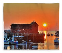 The Sun Rising By Motif Number 1 In Rockport Ma Bearskin Neck Fleece Blanket