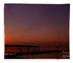 The Sun Sets Over The Water Fleece Blanket