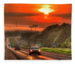 The Sunrise Commute Georgia Interstate 20 Art Fleece Blanket
