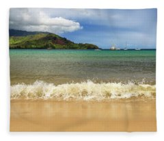 The Surf At Hanalei Bay Fleece Blanket