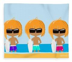The Surfing Triplets Fleece Blanket