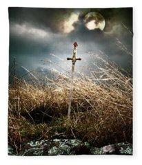 Sword Under A Full Moon Fleece Blanket