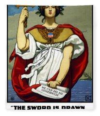 The Sword Is Drawn - The Navy Upholds It Fleece Blanket