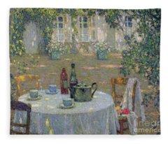 The Table In The Sun In The Garden Fleece Blanket