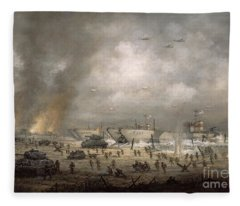 The Tanks Go In - Sword Beach  Fleece Blanket