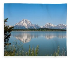 The Tetons On Jackson Lake - Grand Teton National Park Wyoming Fleece Blanket