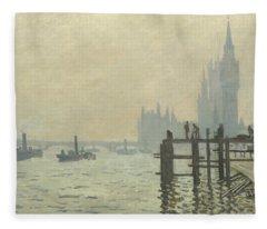 The Thames At Westminster Fleece Blanket