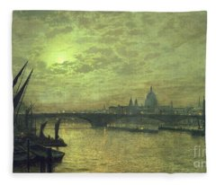 The Thames By Moonlight With Southwark Bridge Fleece Blanket