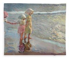 The Three Sisters On The Beach Fleece Blanket