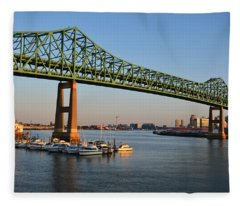 The Tobin Bridge Into The Sunset Chelsea Yacht Club Fleece Blanket