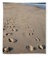 The Trails Of Footprints - Jersey Shore Fleece Blanket