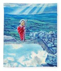 The Transcending Spartan Soldier Fleece Blanket