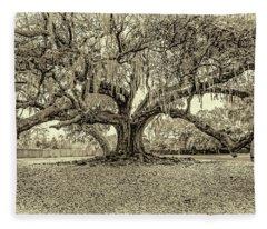 The Tree Of Life Sepia Fleece Blanket