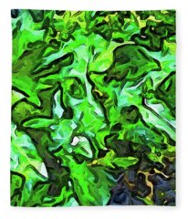 The Tropical Green Leaves With The Wings Fleece Blanket