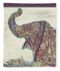 The Trumpet - Elephant Kashmir Patterned Boho Tribal Fleece Blanket