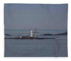 The Two Harbor Lighthouses Fleece Blanket