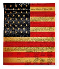 The United States Declaration Of Independence - American Flag - Square Fleece Blanket