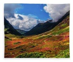 The Valley Of Three Sisters. Glencoe. Scotland Fleece Blanket