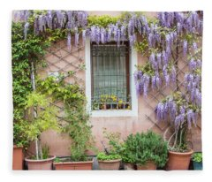 The Venice Italy Window  Fleece Blanket