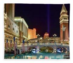 The Venetian Gondolas At Night Fleece Blanket