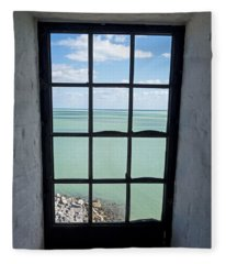 The View From The Lighthouse Window Bill Baggs Lighthouse Key Biscayne Florida Fleece Blanket