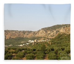 The Village Of Zuheros And Surroundings Fleece Blanket