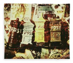 The Vintage Postage Card Fleece Blanket