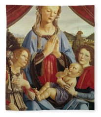 The Virgin And Child With Two Angels Fleece Blanket