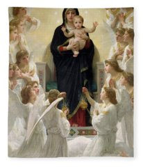 The Virgin With Angels Fleece Blanket