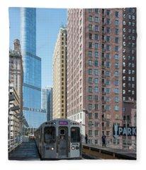 The Wabash L Train At Eye Level Fleece Blanket